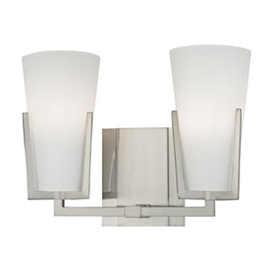 Upton Satin Nickel Two-Light Vanity with Frosted Mouth-Blow Glass