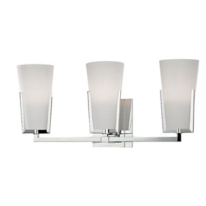 Upton Polished Chrome Three-Light Vanity with Mouth-Blown Glass