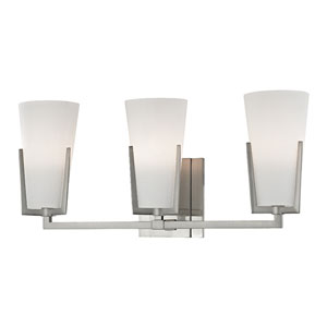 Upton Satin Nickel Three-Light Vanity with Frosted Mouth-Blow Glass