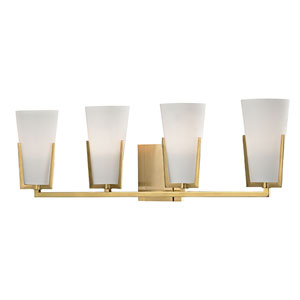Upton Aged Brass Four-Light Vanity Fixture