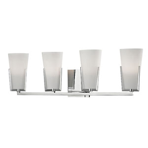 Upton Polished Chrome Four-Light Vanity Fixture with Mouth-Blown Glass