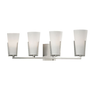 Upton Satin Nickel Four-Light Vanity with Frosted Mouth-Blown Glass