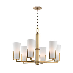 Upton Aged Brass Six-Light Chandelier