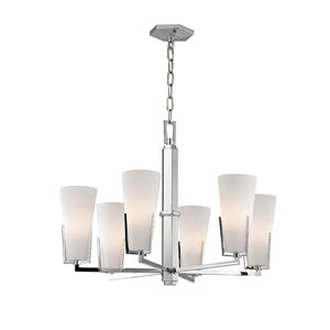 Upton Polished Chrome Six-Light Chandelier with Mouth-Blown Glass
