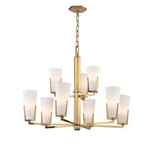 Upton Aged Brass Nine-Light Chandelier