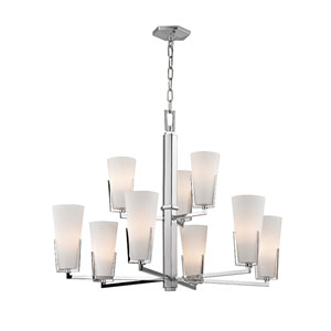 Upton Polished Chrome Nine-Light Chandelier with Mouth-Blown Glass