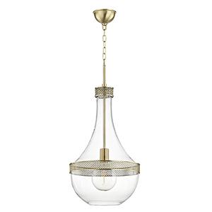 Hagen Aged Brass 1-Light 14-Inch Pendant