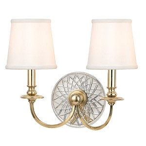 Yates Aged Brass Two-Light Wall Sconce with White Shade
