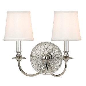 Yates Polished Nickel Two-Light Wall Sconce with White Shade