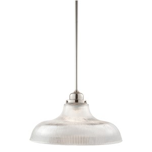 Edison Polished Nickel One-Light Pendant with Flared Ribbed Glass