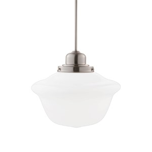 Edison Satin Nickel One-Light Pendant with Medium Schoolhouse Glass