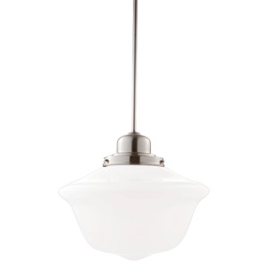 Edison Satin Nickel One-Light Pendant with Large Schoolhouse Glass