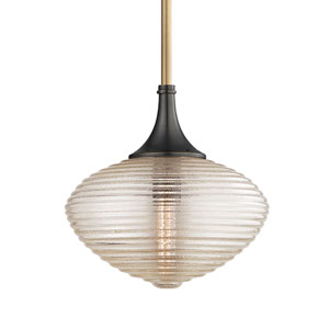 Knox Aged Old Bronze 12-Inch One-Light Pendant with Clear Glass