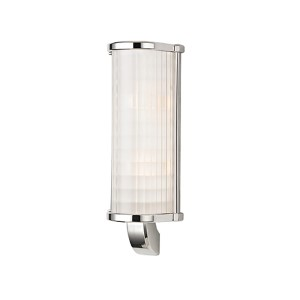 Arcadia Polished Nickel Two-Light Wall Sconce with Frosted Etched Glass