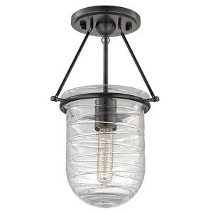 Willet Old Bronze One-Light Semi Flush with Clear Pressed Glass