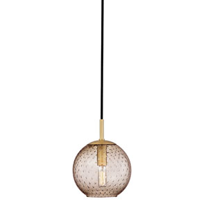 Rousseau Aged Brass One-Light Mini Pendant with Bronze Glass