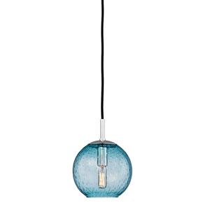 Rousseau Polished Chrome One-Light Mini Pendant with Blue Glass