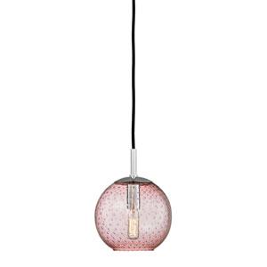 Rousseau Polished Chrome One-Light Mini Pendant with Pink Glass