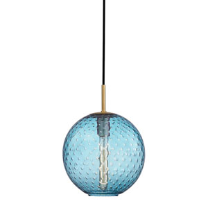 Rousseau Aged Brass 11.5-Inch One-Light Pendant with Blue Glass