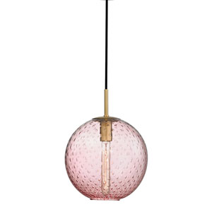 Rousseau Aged Brass 11.5-Inch One-Light Pendant with Pink Glass