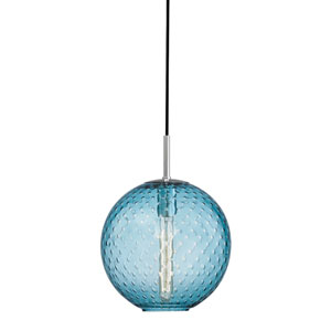 Rousseau Polished Chrome 11.5-Inch One-Light Pendant with Blue Glass