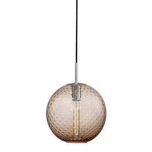 Rousseau Polished Chrome 11.5-Inch One-Light Pendant with Bronze Glass
