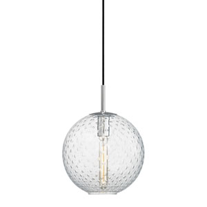 Rousseau Polished Chrome 11.5-Inch One-Light Pendant with Clear Glass