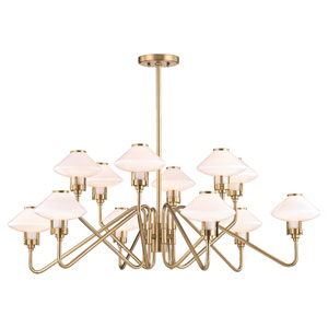 Knowles Aged Brass LED 43-Inch 12-Light Chandelier