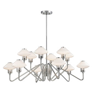Knowles Polished Nickel LED 43-Inch 12-Light Chandelier