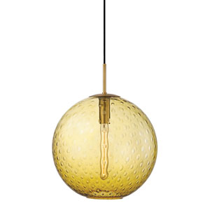 Rousseau Aged Brass 16-Inch One-Light Pendant with Light Amber Glass