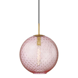 Rousseau Aged Brass 16-Inch One-Light Pendant with Pink Glass