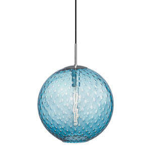 Rousseau Polished Chrome 16-Inch One-Light Pendant with Blue Glass