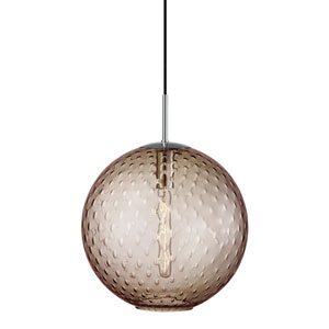 Rousseau Polished Chrome 16-Inch One-Light Pendant with Bronze Glass