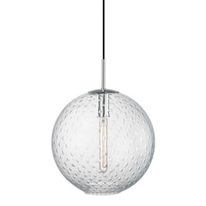 Rousseau Polished Chrome 16-Inch One-Light Pendant with Clear Glass