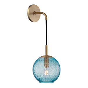 Rousseau Aged Brass 6-Inch One-Light Wall Sconce with Blue Glass