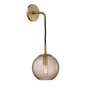 Rousseau Aged Brass 6-Inch One-Light Wall Sconce with Bronze Glass