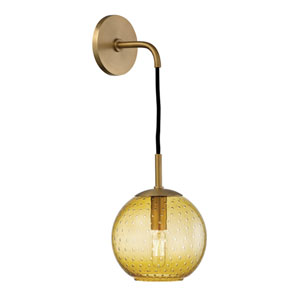 Rousseau Aged Brass 6-Inch One-Light Wall Sconce with Light Amber Glass