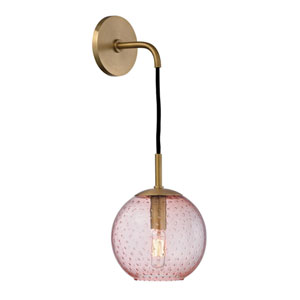 Rousseau Aged Brass 6-Inch One-Light Wall Sconce with Pink Glass