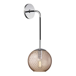 Rousseau Polished Chrome 6-Inch One-Light Wall Sconce with Bronze Glass