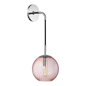 Rousseau Polished Chrome 6-Inch One-Light Wall Sconce with Pink Glass