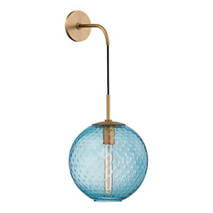 Rousseau Aged Brass 10-Inch One-Light Wall Sconce with Blue Glass