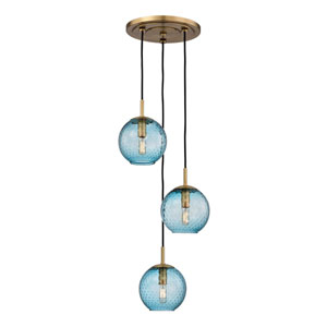 Rousseau Aged Brass Three-Light Pendant with Blue Glass