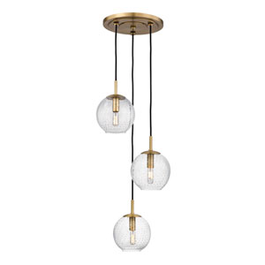 Rousseau Aged Brass Three-Light Pendant with Clear Glass