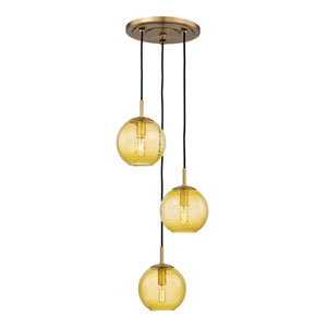 Rousseau Aged Brass Three-Light Pendant with Light Amber Glass