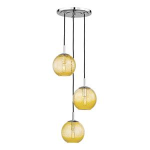 Rousseau Polished Chrome Three-Light Pendant with Light Amber Glass