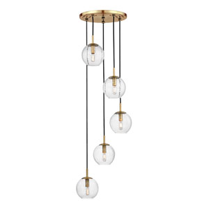 Rousseau Aged Brass Five-Light Pendant with Clear Glass