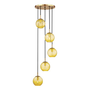 Rousseau Aged Brass Five-Light Pendant with Light Amber Glass