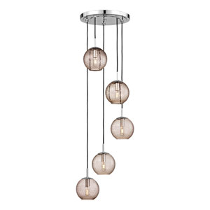 Rousseau Polished Chrome Five-Light Pendant with Bronze Glass