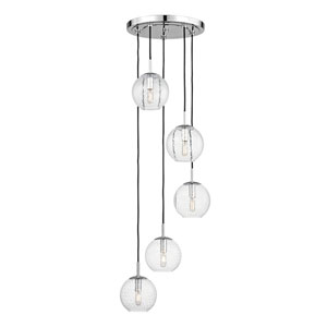 Rousseau Polished Chrome Five-Light Pendant with Clear Glass