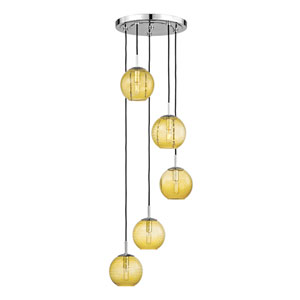 Rousseau Polished Chrome Five-Light Pendant with Light Amber Glass